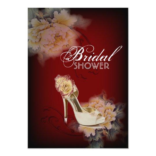 burgundy modern vintage peony floral bridal shower card