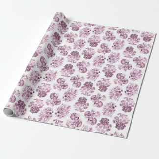 Burgundy Monochrome Floral Wrapping Paper