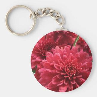 Burgundy Mums Basic Round Button Key Ring
