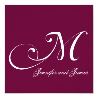 Burgundy Names Monogram M Wedding Invitations