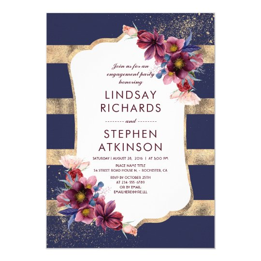 Burgundy Navy and Gold Floral Engagement Party Card