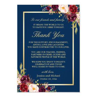 Burgundy Navy Blue Wedding Place Setting Thank You Card
