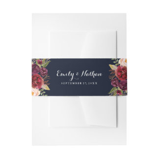 Burgundy Navy Floral Fall Wedding Belly Band Invitation Belly Band