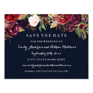 Burgundy Navy Floral Fall Wedding Save The Date Card