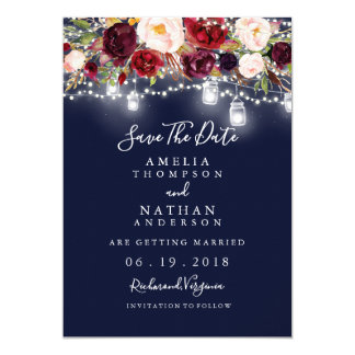 Burgundy Navy Floral Lights Wedding Save The Date Card