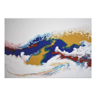 Burgundy Navy Fluid Marble Acrylic Art Abstract Poster