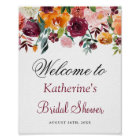 Burgundy Orange Pink Floral Bridal Shower Sign