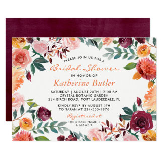 Burgundy Orange Pink Flowers Fall Bridal Shower Card