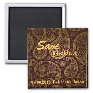 burgundy paisley western wedding save the date fridge magnets