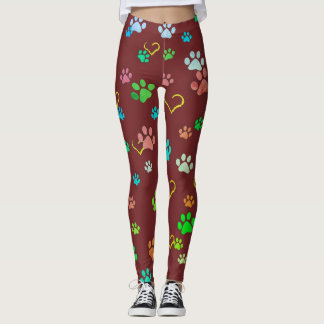 Burgundy paw print & heart pattern leggings