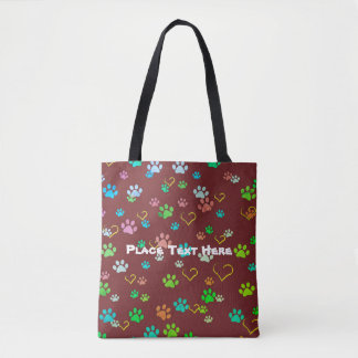 Burgundy paw print & heart pattern tote bag