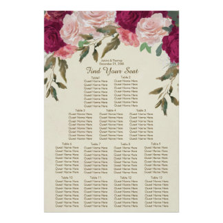 burgundy pink blush floral wedding seating chart