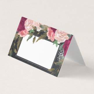 burgundy pink floral chalkboard wedding place card