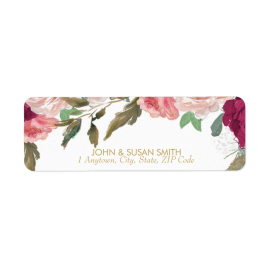 burgundy pink floral return address labels