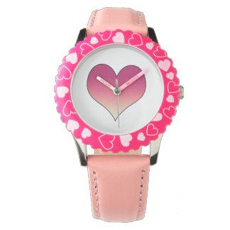 Burgundy Pink Heart Watch