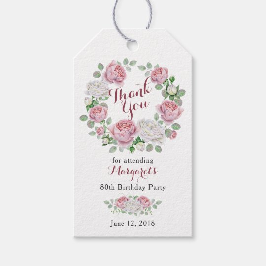 Burgundy Pink Rose Floral 80th Birthday Thank You