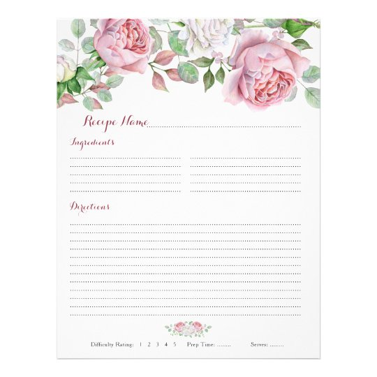Burgundy Pink Rose Floral Binder Recipe Inserts Flyer