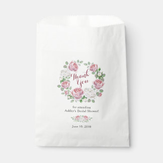 Burgundy Pink Rose Floral Bridal Shower Thank You Favour Bags