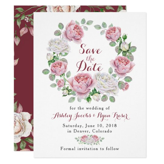Burgundy Pink Rose Floral Wedding Save the Date