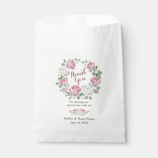 Burgundy Pink Rose Floral Wedding Thank You Favour