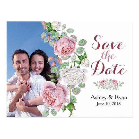 Burgundy Pink Rose Photo Wedding Save the Date