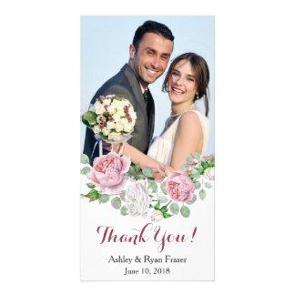 Burgundy Pink Rose Wedding Thank You Card