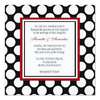 Burgundy Polka Dot Wedding Invitation