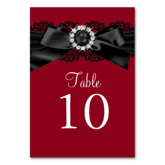 Burgundy Red and Black Pearl Bow Table Number Card Table Cards