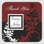 Burgundy Red Black White Wedding Favour Labels Stickers