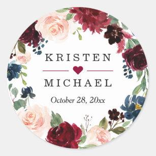 Burgundy Red Blush Floral Wreath Wedding Favour Classic Round Sticker