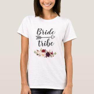 Burgundy Red Boho Floral Bridesmaid Bride Tribe T-Shirt