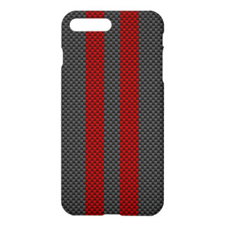 Burgundy Red Carbon Fiber Style Racing Stripes iPhone 7 Plus Case