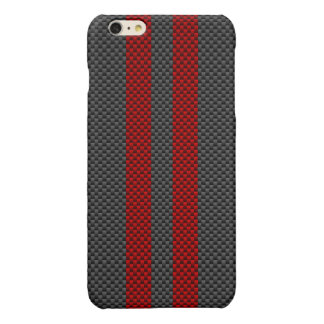 Burgundy Red Carbon Fiber Style Racing Stripes iPhone 6 Plus Case