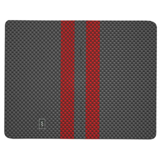 Burgundy Red Carbon Style Racing Stripes Decor Journal