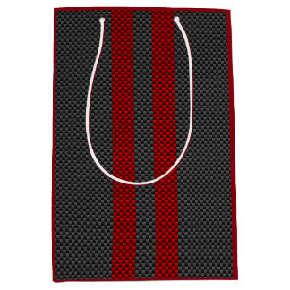 Burgundy Red Carbon Style Racing Stripes Decor Medium Gift Bag
