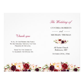 Burgundy Red Chic Floral Folded Wedding Program Flyer