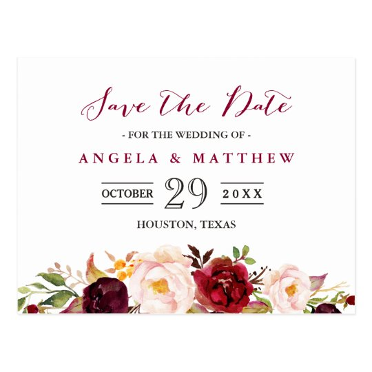 Burgundy Red Chic Floral Wedding Save the Date