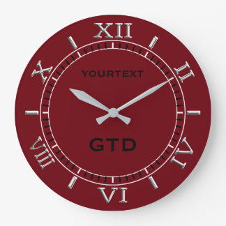 Burgundy Red Decor Dial Easily Personalize This Large Clock