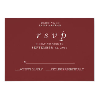 Burgundy Red Elegant Modern Wedding RSVP Card