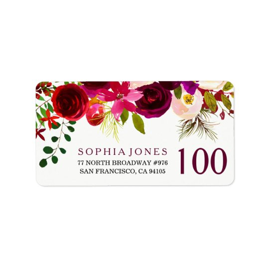 Burgundy Red Floral 100th Birthday Address Label