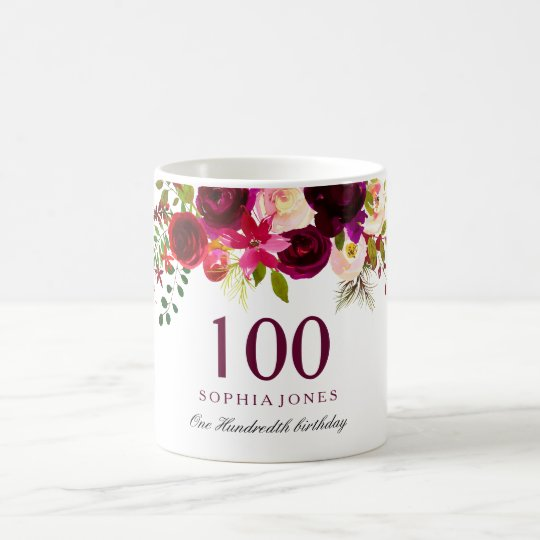 Burgundy Red Floral Boho 100th Birthday Gift Coffee