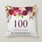 Burgundy Red Floral Boho 100th Birthday Gift Cushion