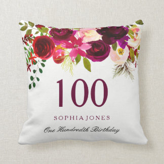 Burgundy Red Floral Boho 100th Birthday Gift Cushion