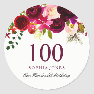 Burgundy Red Floral Boho 100th Birthday Party Classic Round Sticker