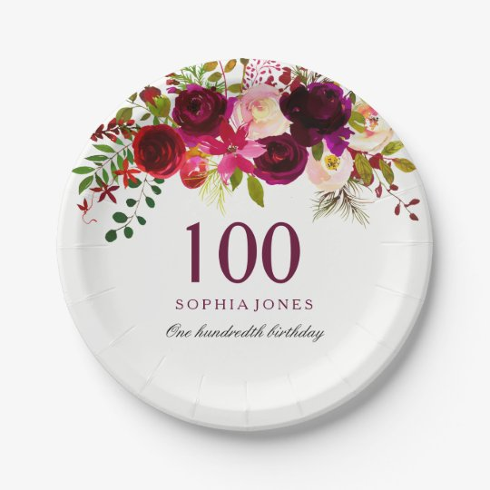 Burgundy Red Floral Boho 100th Birthday Party Paper