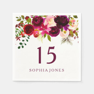 Burgundy Red Floral Boho 15th Birthday Quinceanera Disposable Napkin