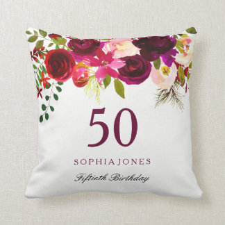 Burgundy Red Floral Boho 50th Birthday Gift Cushion