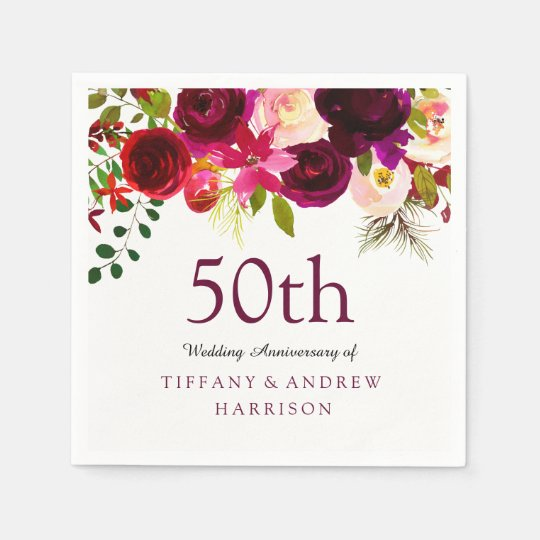 Burgundy Red Floral Boho 50th Wedding Anniversary Disposable