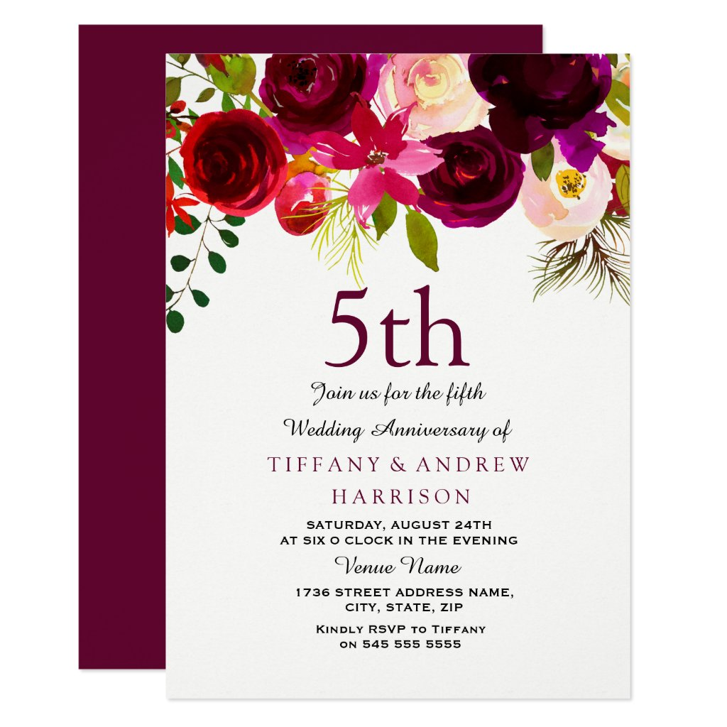 Burgundy Red Floral Boho 5th Wedding Anniversary Card