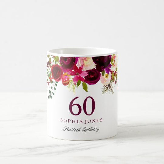 Burgundy Red Floral Boho 60th Birthday Gift Coffee